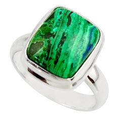 6.19cts natural green azurite malachite 925 sterling silver ring size 7 r42467