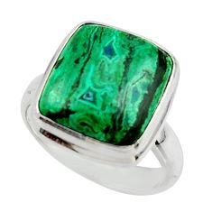 7.46cts natural green azurite malachite 925 sterling silver ring size 7 r42468