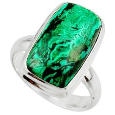 10.57cts natural green azurite malachite 925 sterling silver ring size 8 r42466