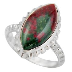 9.99cts natural green bloodstone african 925 silver solitaire ring size 7 d46474