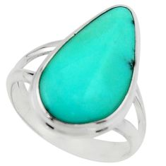 12.10cts natural green campitos turquoise silver solitaire ring size 9 r22191