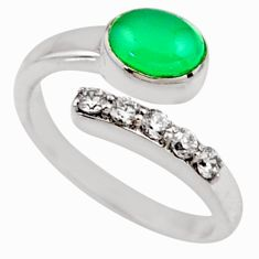 3.91cts natural green chalcedony 925 silver adjustable ring size 9.5 r54570