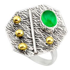 1.47cts natural green chalcedony 925 silver gold solitaire ring size 6.5 r37322