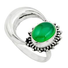 3.32cts natural green chalcedony 925 silver half moon ring size 6.5 r26741