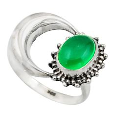 3.26cts natural green chalcedony 925 silver half moon ring size 7.5 r41763