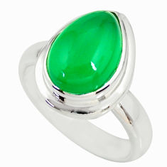 4.74cts natural green chalcedony 925 silver solitaire ring jewelry size 6 r34181