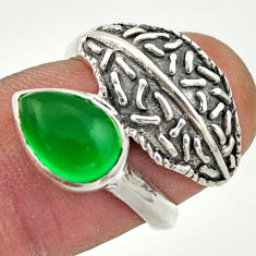 2.34cts natural green chalcedony 925 silver solitaire ring jewelry size 6 r37083