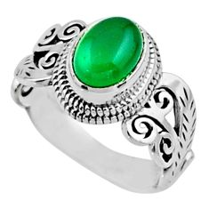 2.01cts natural green chalcedony 925 silver solitaire ring jewelry size 6 r54461