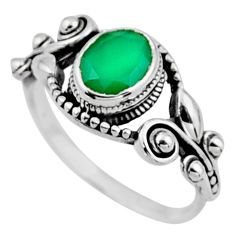 1.94cts natural green chalcedony 925 silver solitaire ring jewelry size 6 r54525