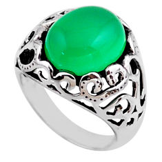 5.31cts natural green chalcedony 925 silver solitaire ring jewelry size 6 r54602