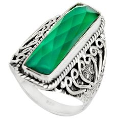 6.32cts natural green chalcedony 925 silver solitaire ring jewelry size 7 r21361
