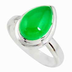 4.88cts natural green chalcedony 925 silver solitaire ring jewelry size 7 r34182
