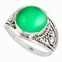 4.83cts natural green chalcedony 925 silver solitaire ring jewelry size 7 r35423