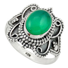 3.11cts natural green chalcedony 925 silver solitaire ring jewelry size 7 r40472