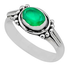 1.62cts natural green chalcedony 925 silver solitaire ring jewelry size 7 r54402