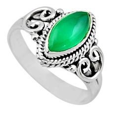 2.09cts natural green chalcedony 925 silver solitaire ring jewelry size 7 r54443