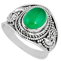 3.26cts natural green chalcedony 925 silver solitaire ring jewelry size 7 r58241