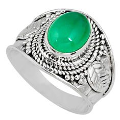 3.01cts natural green chalcedony 925 silver solitaire ring jewelry size 7 r58249