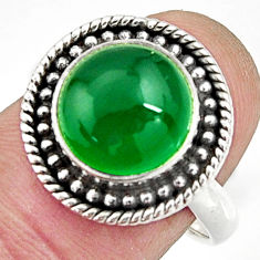 5.79cts natural green chalcedony 925 silver solitaire ring jewelry size 8 r24885