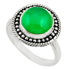 5.53cts natural green chalcedony 925 silver solitaire ring jewelry size 8 r26601