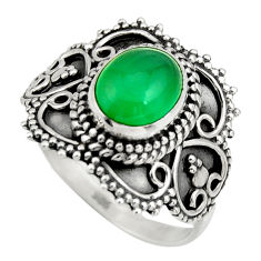 3.19cts natural green chalcedony 925 silver solitaire ring jewelry size 8 r26942