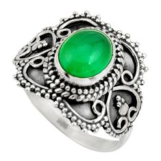 3.35cts natural green chalcedony 925 silver solitaire ring jewelry size 8 r26943