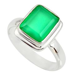 4.52cts natural green chalcedony 925 silver solitaire ring jewelry size 8 r34162