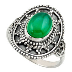 3.19cts natural green chalcedony 925 silver solitaire ring jewelry size 8 r40467