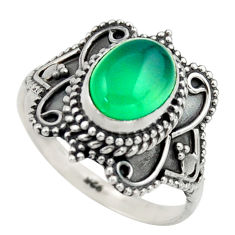 3.01cts natural green chalcedony 925 silver solitaire ring jewelry size 8 r40474