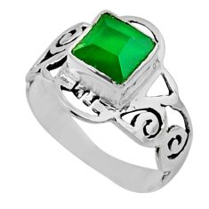 2.71cts natural green chalcedony 925 silver solitaire ring jewelry size 8 r54430
