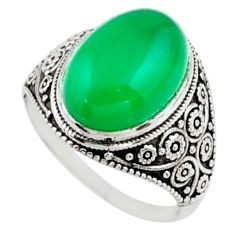 6.53cts natural green chalcedony 925 silver solitaire ring jewelry size 8 r54622