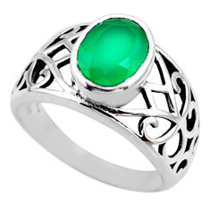 3.42cts natural green chalcedony 925 silver solitaire ring jewelry size 8 r54665
