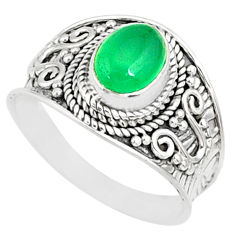 2.14cts natural green chalcedony silver solitaire handmade ring size 8 r81410