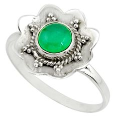 1.36cts natural green chalcedony 925 silver solitaire ring jewelry size 9 r22209