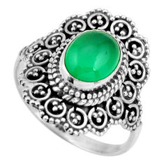 3.42cts natural green chalcedony 925 silver solitaire ring jewelry size 9 r26921