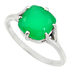 3.98cts natural green chalcedony 925 silver solitaire ring jewelry size 9 r35868