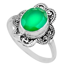 4.08cts natural green chalcedony 925 silver solitaire ring jewelry size 9 r54482
