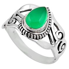 2.33cts natural green chalcedony 925 silver solitaire ring jewelry size 9 r54641