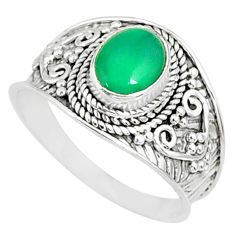 2.14cts natural green chalcedony silver solitaire handmade ring size 9 r81429