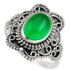3.02cts natural green chalcedony 925 silver solitaire ring size 7.5 r26962