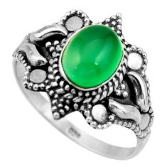 3.01cts natural green chalcedony 925 silver solitaire ring size 9.5 r26988