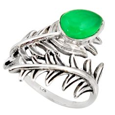 2.23cts natural green chalcedony 925 silver solitaire ring size 6.5 r37023