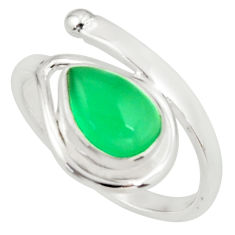 2.11cts natural green chalcedony 925 silver solitaire ring size 7.5 r37902