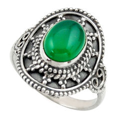 3.19cts natural green chalcedony 925 silver solitaire ring size 7.5 r40468