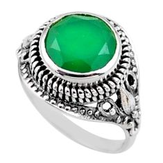 5.09cts natural green chalcedony 925 silver solitaire ring size 7.5 r54582