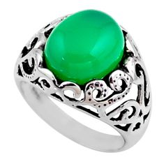 5.53cts natural green chalcedony 925 silver solitaire ring size 7.5 r54601