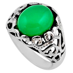 5.31cts natural green chalcedony 925 silver solitaire ring size 7.5 r54603