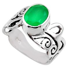 3.01cts natural green chalcedony 925 silver solitaire ring size 7.5 r54682