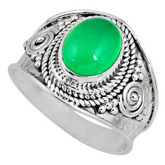 3.19cts natural green chalcedony 925 silver solitaire ring size 7.5 r58243