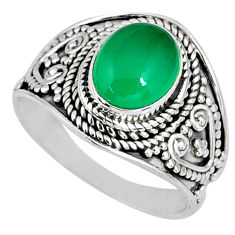 3.26cts natural green chalcedony 925 silver solitaire ring size 7.5 r58246